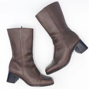 Vintage | Mid Calf Leather Boot • sz 8